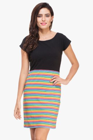 Black and Multi Colored Striped Dress