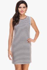 Striped Panel and Grey Melange Dress