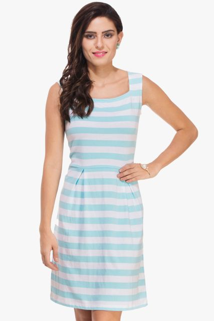 Blue and White Skater Pleated Dress