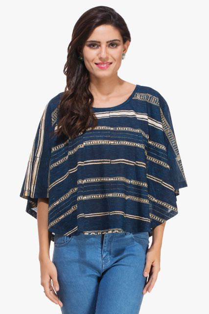 Blue Poncho Beige Abstract Print