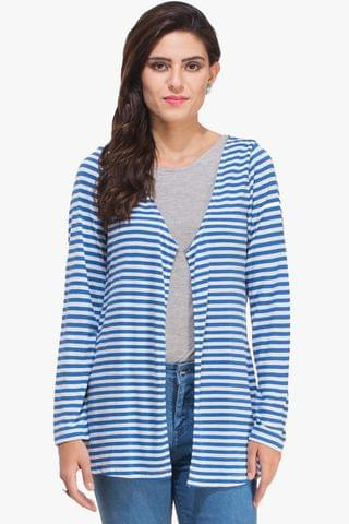 Blue and White Striped Shrug
