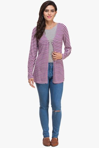 Purple and White Striped Shrug