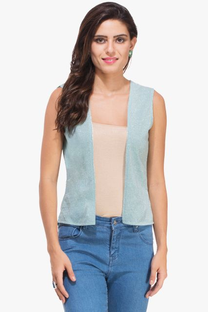 Sky Blue Shimmer Jacket Shrug