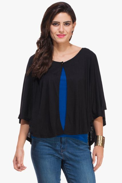 Black Viscose Poncho Shrug