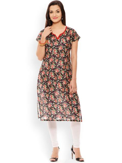 PATOLA Black Printed Cotton Short Sleeve Regular Fit V-Neck Kurti