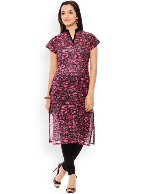 PATOLA Pink Printed Cotton Short Sleeve Regular Fit Banded Collar Kurti