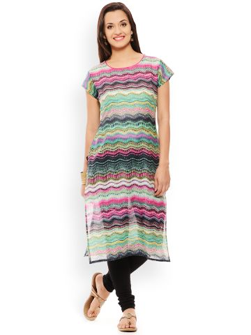PATOLA Multi-Coloured Printed Cotton Short Sleeve Regular Fit Boat Neck Kurti