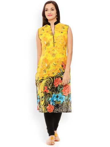 PATOLA Yellow Printed Cotton Sleeveless Regular Fit Banded Collar Kurti