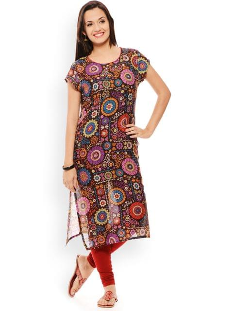 PATOLA Brown Printed Cotton Short Sleeve Regular Fit Round Neck Kurti