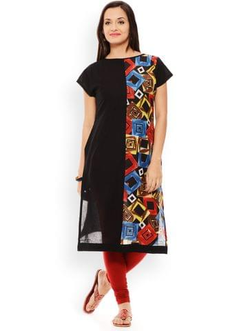 PATOLA Black Printed Cotton Short Sleeve Regular Fit Boat Neck Kurti