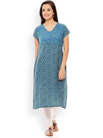 PATOLA Blue Printed Rayon Short Sleeve Regular Fit V-Neck Kurti