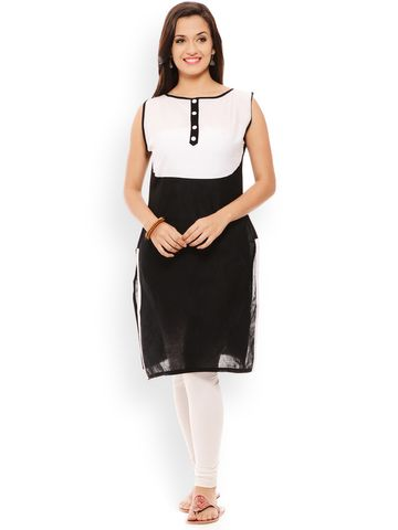 PATOLA Multi-Coloured Solid Cotton Sleeveless Regular Fit Boat Neck Kurti