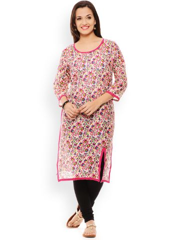 PATOLA Pink Printed Cotton 3/4 Sleeve Regular Fit Round Neck Kurti