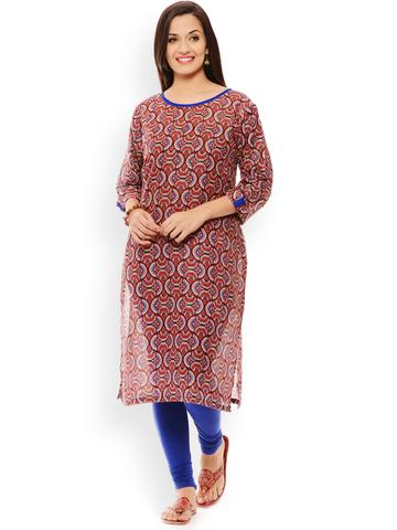 PATOLA Red Printed Cotton 3/4 Sleeve Regular Fit Boat Neck Kurti