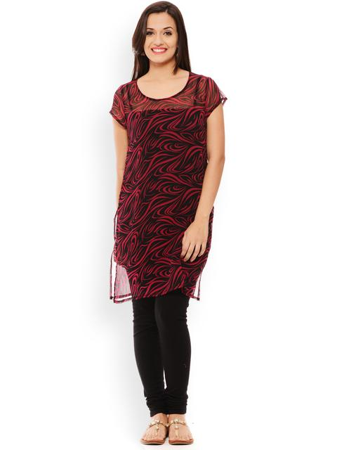 PATOLA Pink Printed Chiffon Short Sleeve Regular Fit Round Neck Kurti