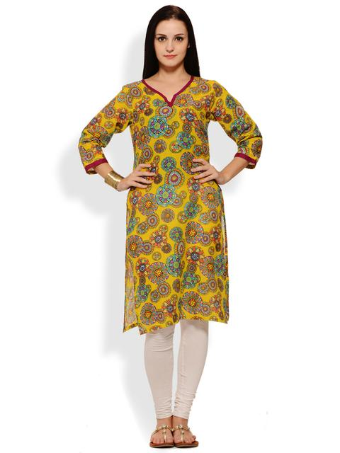 PATOLA Yellow Printed Cotton 3/4 Sleeve Regular Fit V-Neck Kurti