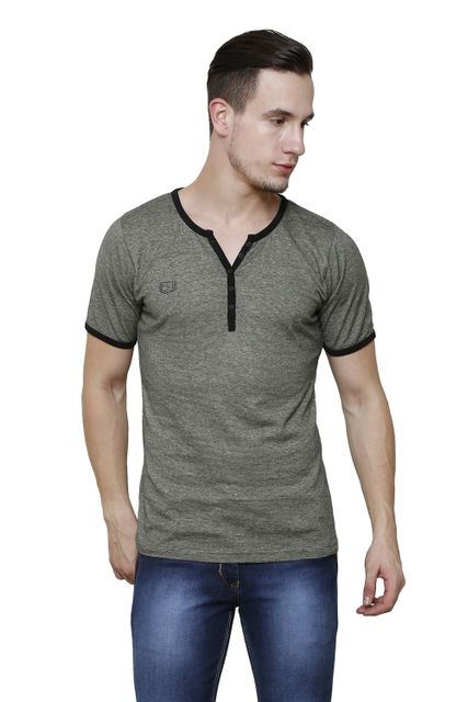 Green Slub, Slim Fit Short Sleeve Y-Neck Henley Tee