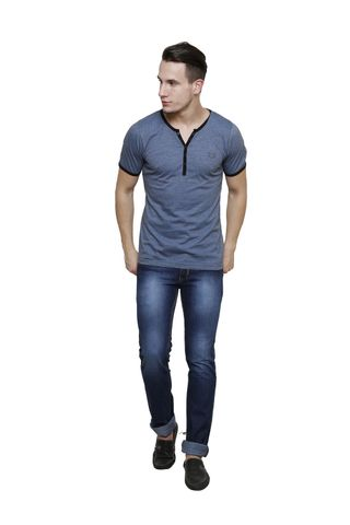 Ink Blue Slub, Slim Fit Short Sleeve Y-Neck Henley Tee