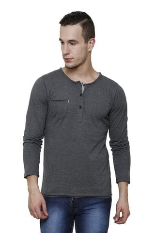 Grey Melange Slim Fit, Full Sleeve Henley Tee