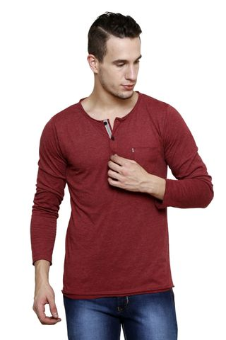 Maroon Melange Slim Fit, Full Sleeve Henley Tee