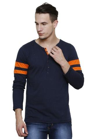 Navy  Slim Fit, orange stripes detailing, Full Sleeve Henley Tee