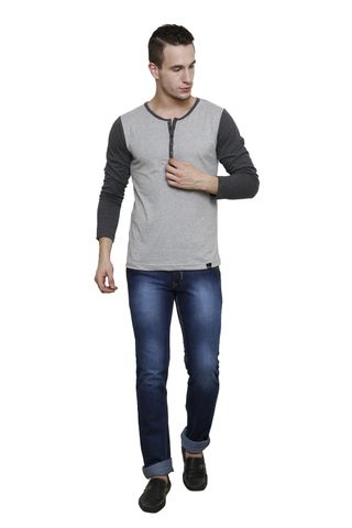 Grey Melange, charcoal sleeve Slim Fit, Full Sleeve Henley Tee