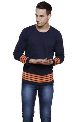 Navy Solid with Orange Stripe Long Sleeve Round Neck Tee