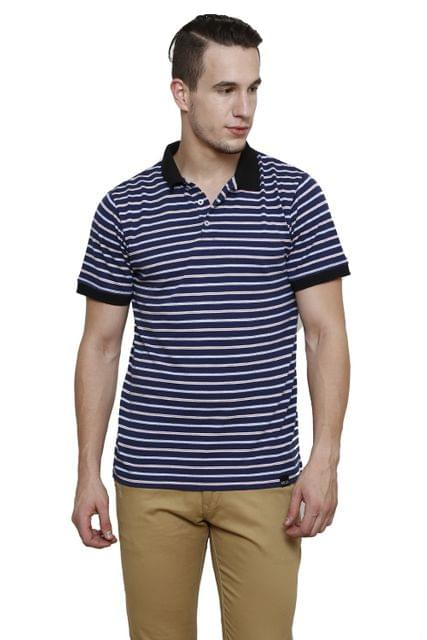 Navy Striped Half Sleeve Slim Fit Polo Tee