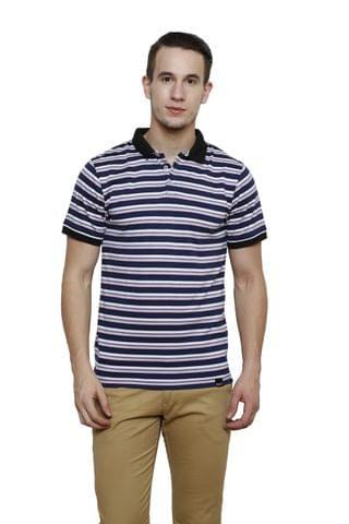 Blue Striped Half Sleeve Slim Fit Polo Tee