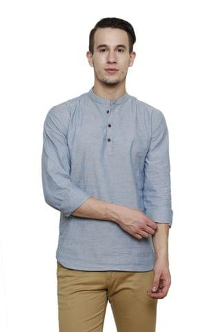 Sky Blue Chambray Solid Slim Fit Casual Shirt