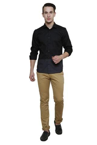 Black Shirt with striped bottom Panel, Slim Fit Casual Shirt
