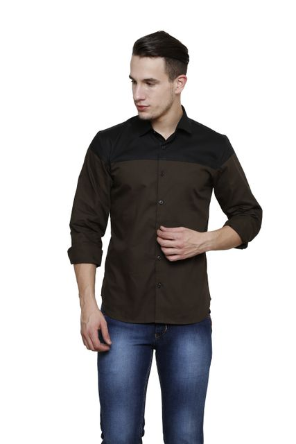 Olive with Black Yoke Detailing, Slim Fit Casual Shirt