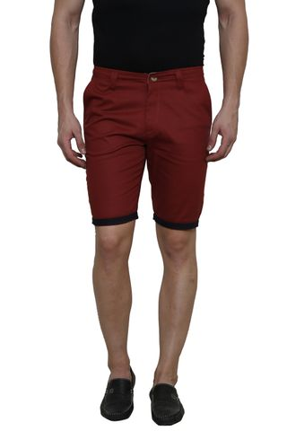 Maroon Solid Slim Fit 4 Pocket Short