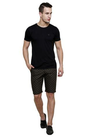 Olive Printed Slim Fit 4 Pocket Short