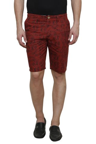 Maroon Printed Slim Fit 4 Pocket Short
