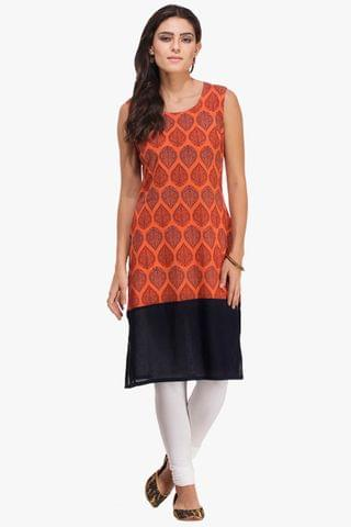 Patola Orange Printed With Blue Border Kurta