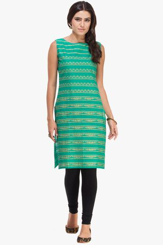 Patola Green With Golden Print Kurta