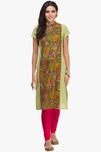 Patola Pista Green With Printed Panel Kurta