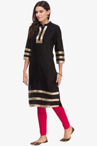 Patola Black Kurta With Golden Lack Work