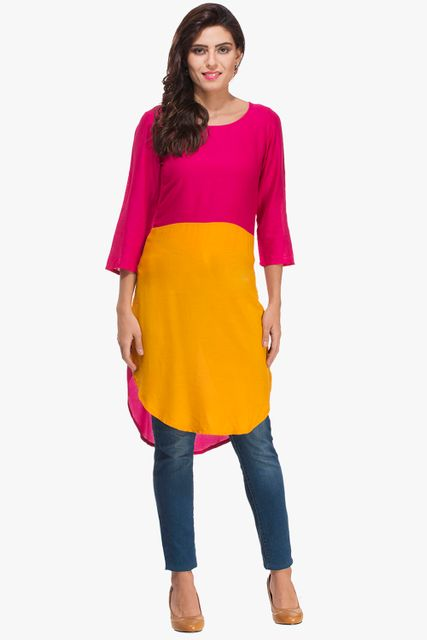 Patola Fuchsia And Mustard Yellow Kurta