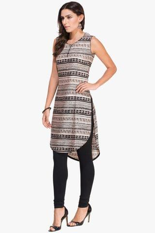 Patola Beige and Black Aztec Print Kurta