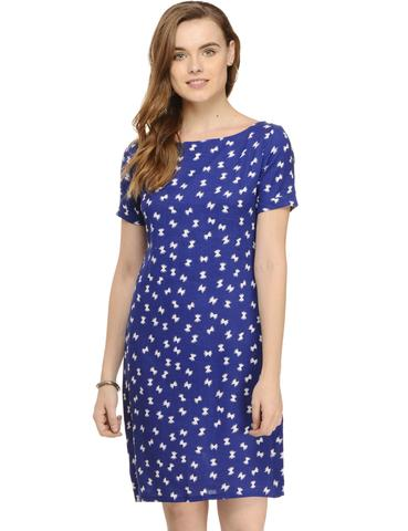 Rigo Blue Abstract Feather Print Half Sleeve Shift Dress