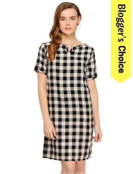 Rigo Black & White Gingham Check Half Sleeve Shift Dress