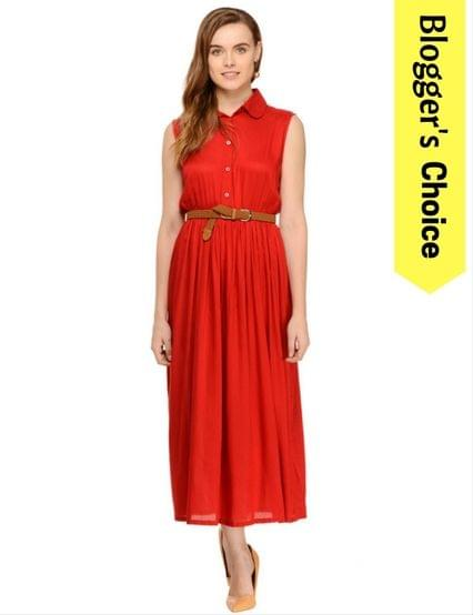 Rigo Bright Red Shirt Sleeveless maxi dress