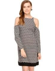 Rigo Black & White Rayon Striped Cold Shoulder Dress