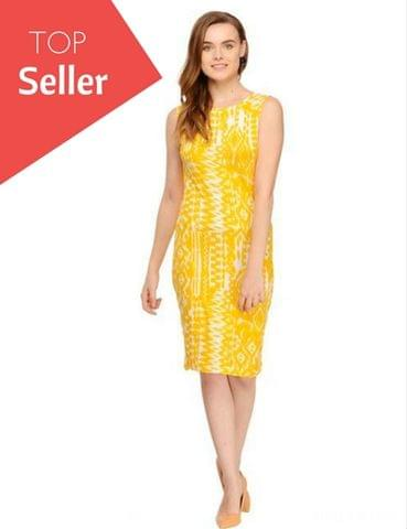Rigo Yellow Abstract Print Sleeveless Bodycon Dress