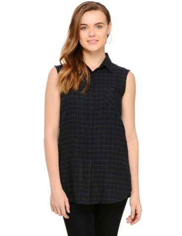 Rigo Black Long Check Sleeveless Shirt