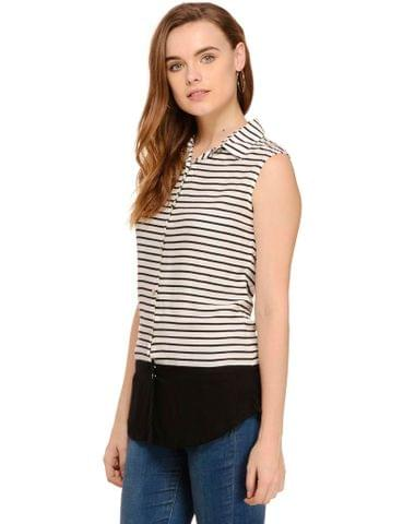 Rigo Black & White Stripe Double Panel  Shirt