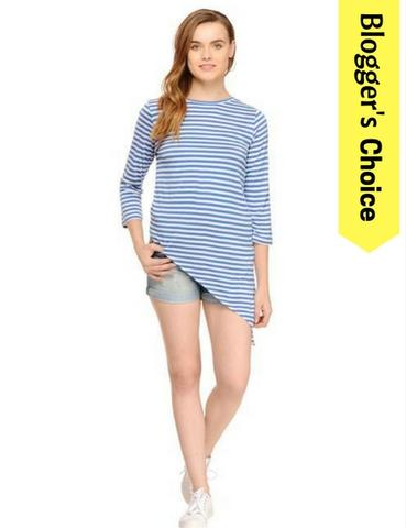 Rigo Blue & White Striped Asymmetric Hem Top