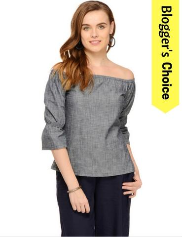 Rigo Blue Chambray Bardot Top
